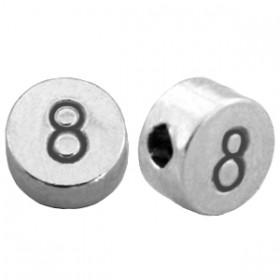 DQ metaal cijferkraal 8 antiek zilver