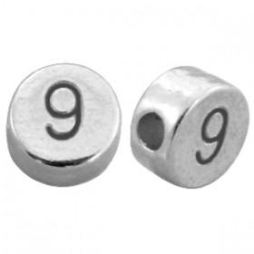 DQ metaal cijferkraal 9 antiek zilver