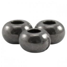 DQ metaal kraal plat 5 x 3.3 mm Zilver antraciet (nikkelvrij)