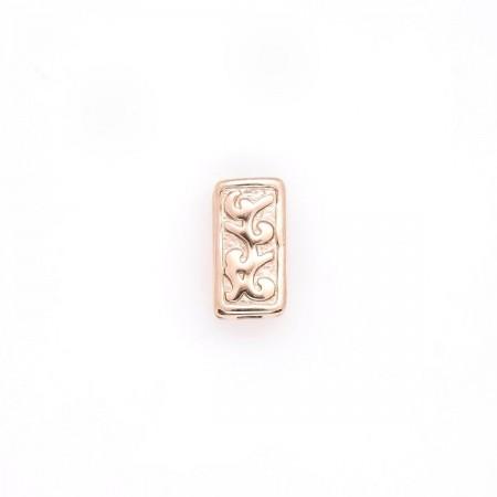 RVS kralen rechthoekig 10 x 5 met gravering rosé goud