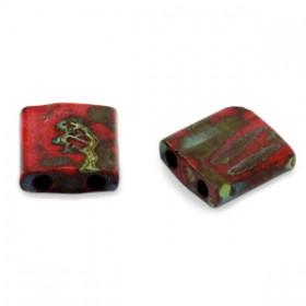 Miyuki tila 5x5 mm Opaque picasso red