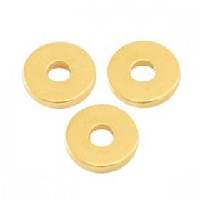 Kralen DQ metaal disc rondellen 6x1mm Goud (nikkelvrij)