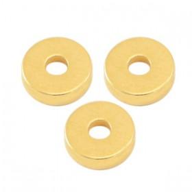 Kralen DQ metaal disc rondellen 6x2mm Goud (nikkelvrij)