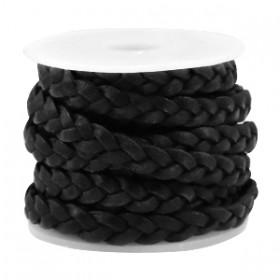 DQ leer plat gevlochten 5mm Vintage black