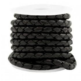 DQ leer 4 draden rond gevlochten 4mm Vintage black