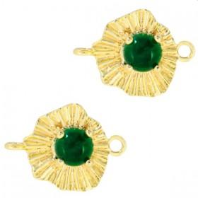 TQ metalen bedel/tussenstuk sunny stone Goud-emerald green