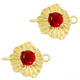 TQ metalen bedel/tussenstuk sunny stone Goud-scarlet red