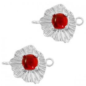 TQ metalen bedel/tussenstuk sunny stone Zilver-scarlet red