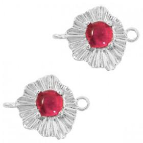 TQ metalen bedel/tussenstuk sunny stone Zilver-salsa rose