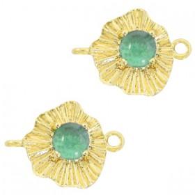 TQ metalen bedel/tussenstuk sunny stone Goud-azure green