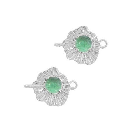 TQ metalen bedel/tussenstuk sunny stone Zilver-azure green