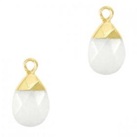 Natuursteen hangers druppel White-gold