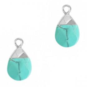Natuursteen hangers druppel Turquoise-silver