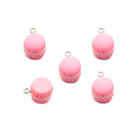 Kunststof bedeltje macaron roze