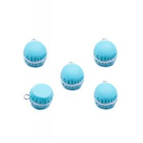 Kunststof bedeltje macaron blauw