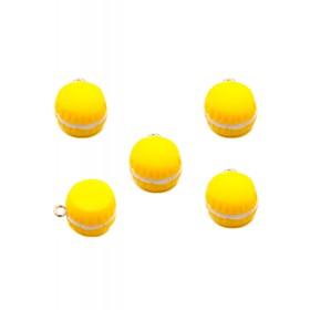 Kunststof bedeltje macaron geel