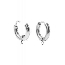 RVS oorringen met oogje stainless steel Zilver