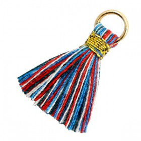 Kwastjes 1cm goud Multi colour red blue