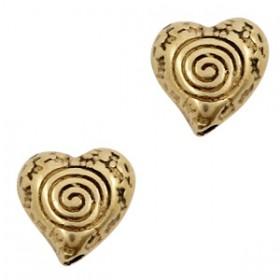 Kralen DQ metaal hartje Antiek brons (nikkelvrij)
