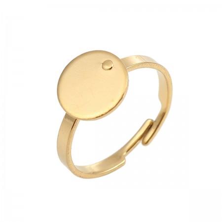 Roestvrij stalen (RVS) Stainless steel ringen voor 10mm Cabochon goud