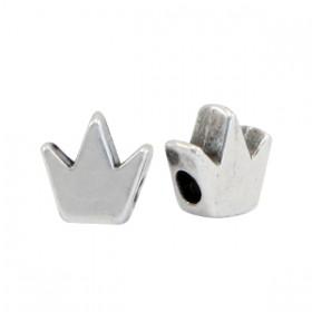 DQ metalen kraal kroon Antiek zilver (nikkelvrij)