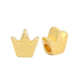 DQ metalen kraal kroon Goud (nikkelvrij)