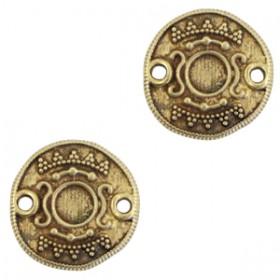 DQ metalen tussenstuk Ethnic met setting voor SS20 flatback Antiek brons (nikkelvrij)