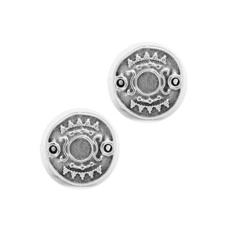 DQ metalen tussenstuk Ethnic met setting voor SS20 flatback Antiek zilver (nikkelvrij)