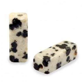 Natuursteen kralen tubes Spotted Stone Greige black
