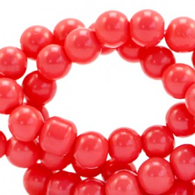 Glaskraal 6 mm opaque Coral red