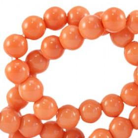 Glaskraal 6 mm opaque Coral nectarine orange