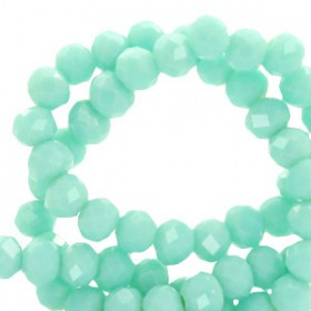 Facet kralen 8x6mm disc Spearmint green-pearl shine coating