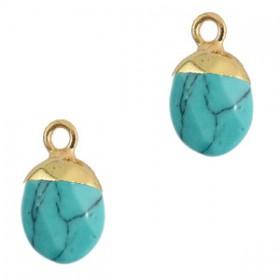 Natuursteen hangers Turquoise-gold