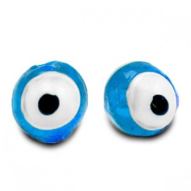 glaskralen Evil Eye 6 mm Sky blue