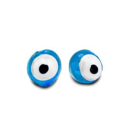 glaskralen Evil Eye 6 mm Sky blue