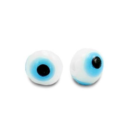 glaskralen Evil Eye 6 mm Wit