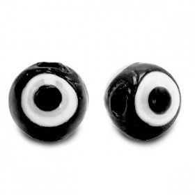 glaskralen Evil Eye 6 mm Black