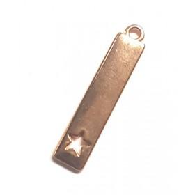 DQ metalen bedel langwerpig met hart Rosé goud (nikkelvrij)