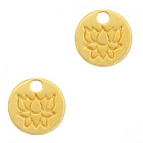 DQ metalen bedel rond met lotus Goud