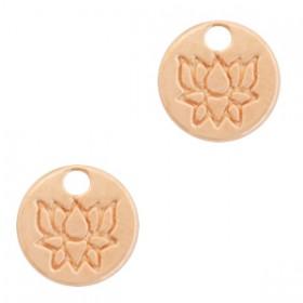 DQ metalen bedel rond met lotus Rosé goud