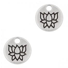 DQ metalen bedel rond met lotus Antiek zilver