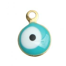 RVS bedel Evil Eye gold plated White & Blue Enamel
