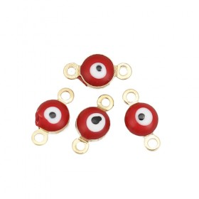 RVS tussenstuk Evil Eye Gold Plated Red Enamel