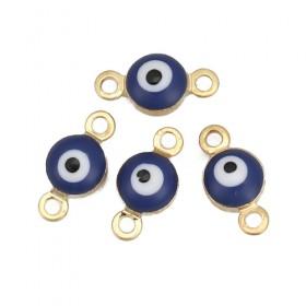 RVS tussenstuk Evil Eye Gold Plated Blue Enamel