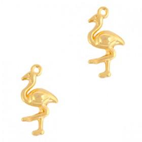 DQ metalen bedel flamingo Goud